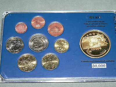 Euro Sonderedition Italien 2002/07 + verg.Medaille in PP/40mm - Acryl