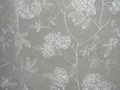 "ZOFFANY ""ALYCE"" EMBROIDERY 3.3 metres curtain fabric WOODLVILLE 331428 LINEN"