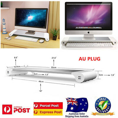 Premium Aluminum Monitor Stand 4 USB Ports for iMac, Mac Mini, Laptop,Desktop