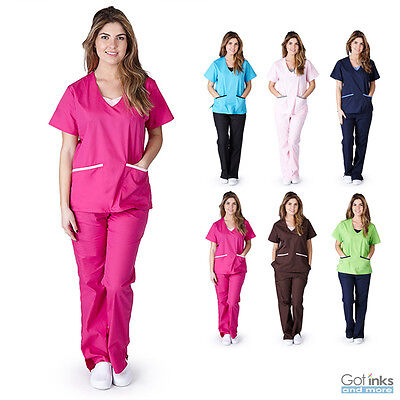 Women's Contrast Jersey Medical Hospital Nursing Uniform Scrubs Set Top & Pants
