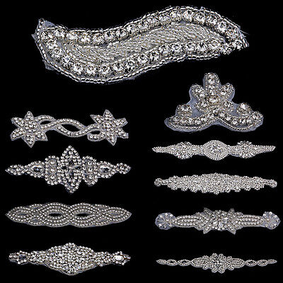 Rhinestone Trim Applique Motif Bridal Dress Applique  Sewing On Decor