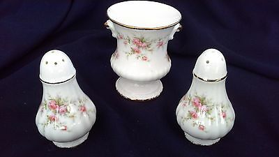 vintage PARAGON fine bone china urn vase salt pepper VICTORIANA ROSE pink roses