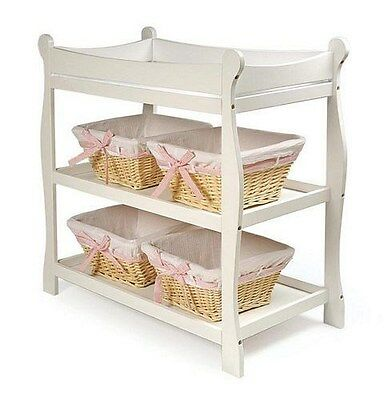 Sleigh Style Wood Baby Changing Table Nursery White NEW