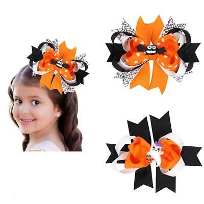 Girls Bat Ghost Halloween Ribbon Bow Hair Clips Barrette Party Decor Photo Props