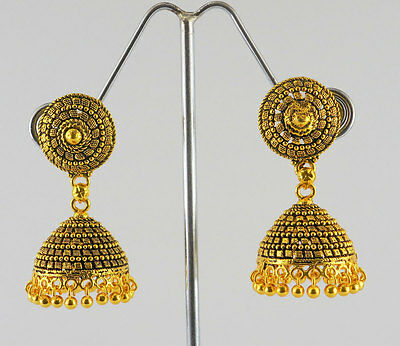 Indian Bollywood Traditional Jewelry Antique Gold plated Jhumka Earrings Set