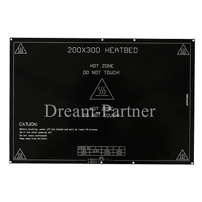 3D Printer PCB Heated bed 300x200mm Dual power 12/24V Perfect for Prusa i3