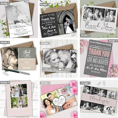 Personalised Wedding Photo Thank You Cards FREE envelopes choice of colour