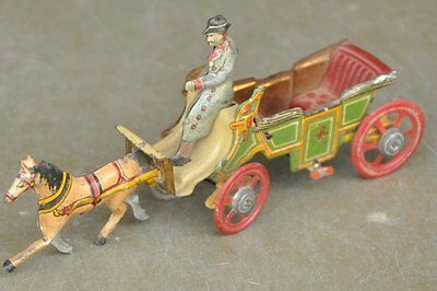 Rare Vintage Fine Meier Horse Driven Carriage Litho Tin Toy , Germany