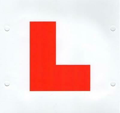 """EQUIP Brand EQ27 Learner Driver Red /""""L/"""" Plates x 2 7/"""" x 7/"""" Tie or Stick New"""