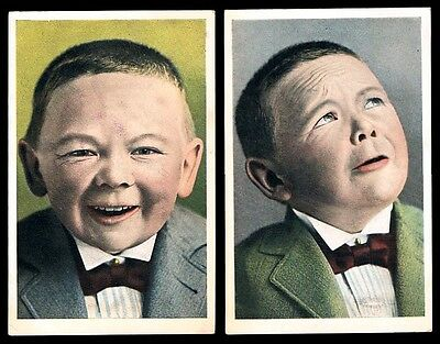 1906 • 2 Postcards • Boy pulling faces, made to look like an old man