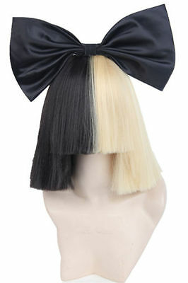 Women's Wigs Short Half Blonde and Black Straight  for Sia +Black bow