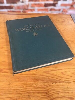 "Rand Mcnally World Atlas 1944 Premiere Edition 14"" X 11"""