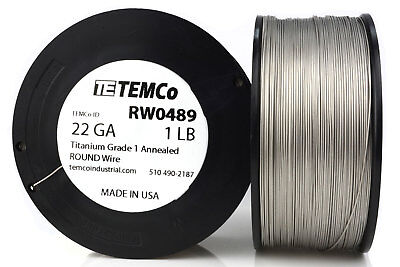 TEMCo Titanium Wire 22 Gauge 1 lb (1017 ft) Surgical Grade 1 Resistance AWG ga