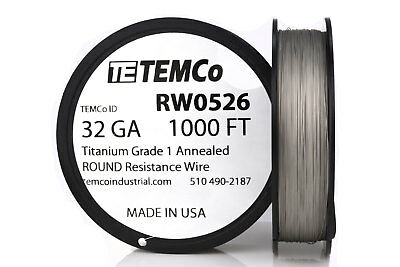 TEMCo Titanium Wire 32 Gauge 1000 FT Surgical Grade 1 Resistance AWG ga
