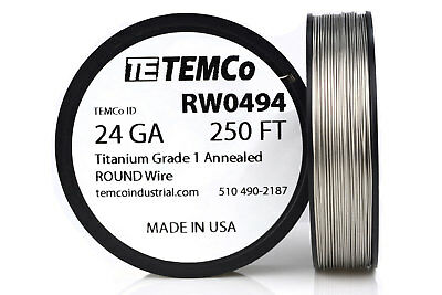 TEMCo Titanium Wire 24 Gauge 250 FT Surgical Grade 1 Resistance AWG ga