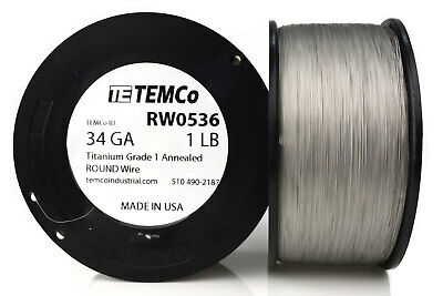TEMCo Titanium Wire 34 Gauge 1 lb (16394 ft) Surgical Grade 1 Resistance AWG ga