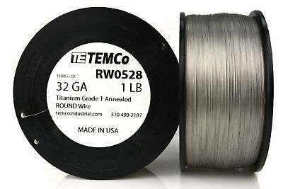 TEMCo Titanium Wire 32 Gauge 1 lb (10167 ft) Surgical Grade 1 Resistance AWG ga