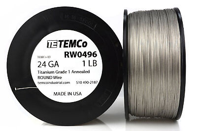 TEMCo Titanium Wire 24 Gauge 1 lb (1611 ft) Surgical Grade 1 Resistance AWG ga
