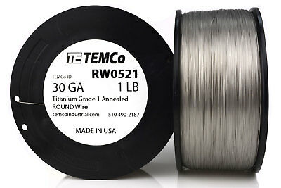 TEMCo Titanium Wire 30 Gauge 1 lb (6507 ft) Surgical Grade 1 Resistance AWG ga