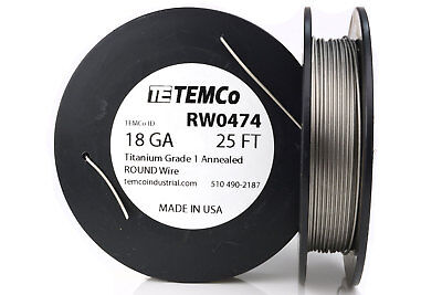 TEMCo Titanium Wire 18 Gauge 25 Ft Surgical Grade 1 Resistance AWG ga
