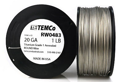 TEMCo Titanium Wire 20 Gauge 1 lb (635 ft) Surgical Grade 1 Resistance AWG ga