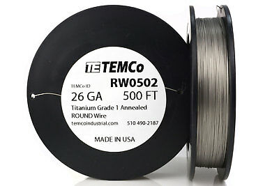 TEMCo Titanium Wire 26 Gauge 500 FT Surgical Grade 1 Resistance AWG ga