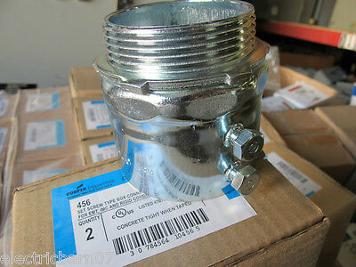 """Crouse Hinds 456, box of (2), 2-1/2"""" Set Screw STEEL Conduit Connector,NEW"""