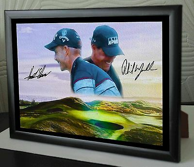 "Henrik Stensen Phil Mickelson Troon 2016 Framed Canvas Print Signed ""Great Gift"""
