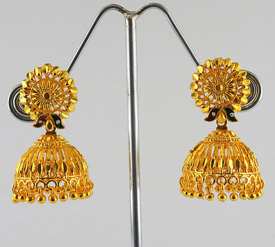 Indian Bollywood Jewelry 22k Gold plated Traditional Jhumka Jhumki Earrings Set