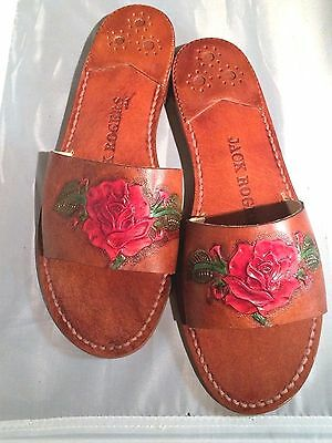 Mother's Day Special Jack Rogers 8 M Hand Tooled Red Rose Leather  New Only One