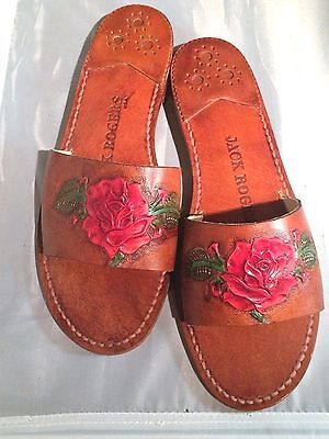 Sale Jack Rogers 8 M Hand Tooled Red Rose Leather  New  One Of A Kind Stunning
