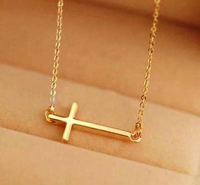 18K Gold Plated Sideways Cross Necklace