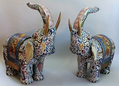 "Huge 26"" Pair of Vintage CHINESE CLOISONNE Elephants  c. 1930  sculpture figure"