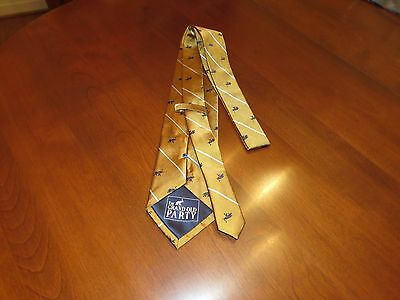 The Grand Old Party Republican Men's Necktie 100% Silk Gold Woven Elephant NEW