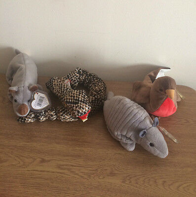TY Beanies Bundle of Toys - Spike, Tank, Early, Snake
