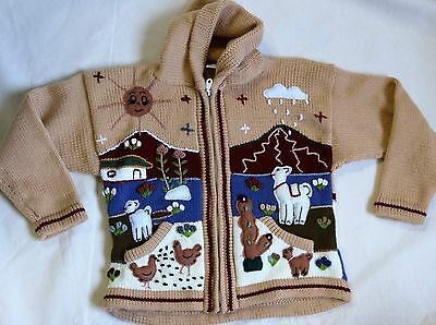 Pahuart Srl Peruvian Peru Child's 8-10 Sweater Handmade Alpaca Knit Cardigan