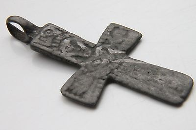 VIKING Period Bronze Cross Pendant Scandinavian Norse Crucifix 1000 AD +