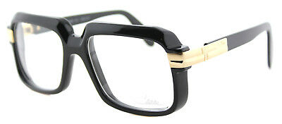 Authentic Cazal 607 001 Legends Shiny Black Gold Plastic Square Eyeglasses 56mm