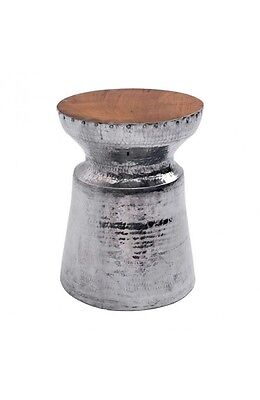 Ultra-Luxe Hammered Steel and Reclaimed Teak Stool Silver Metal