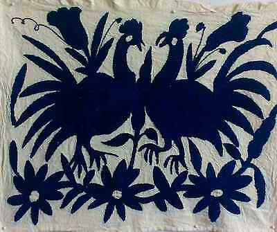 Otomi Embroidery-Royal Blue Design