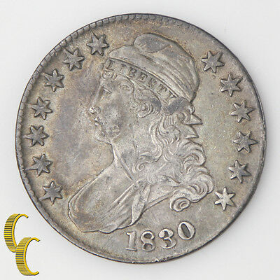 1830 Capped Bust Silver Half Dollar 50c (Extra Fine, XF) Original Toning!