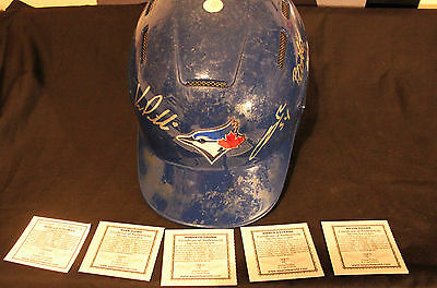 toronto blue jays mulit signed batting helmet signed by five current players