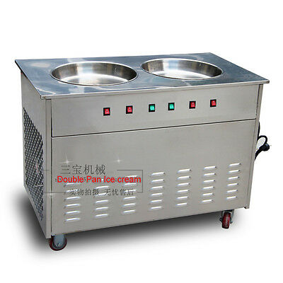 Commercial Dual Flat Pan / Cmpressor 304 Stainless Steel Fried Ice Cream Machine
