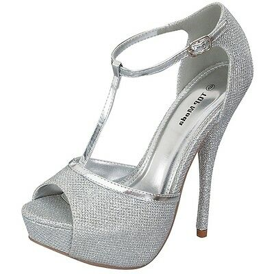 Womens New Au Silver Heels Platform Wedding Bridal Evening Ladies Sandals Shoes