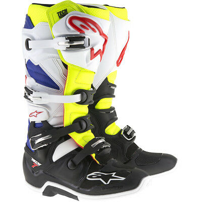 Alpinestars 2017 NEW Mx Tech 7 Adult Fluro Yellow Blue White Motocross Boots
