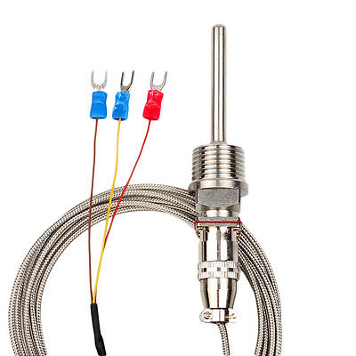 RTD Pt100 Temperature Sensor 6mm Probe 3 Wires 2M Cable 400°C for Temp Control