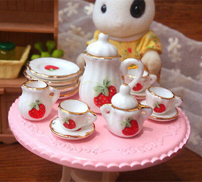 15pc Dollhouse Miniature Dining Ware Porcelain Tea Set Dish Cup Plate Strawberry