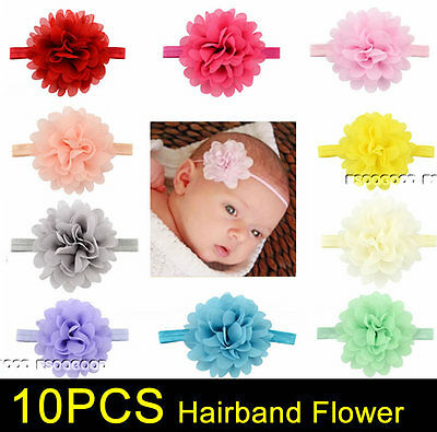 10PCS Baby Girls Hairband Bow Soft Head Elastic Band Headband Flower Hair Access