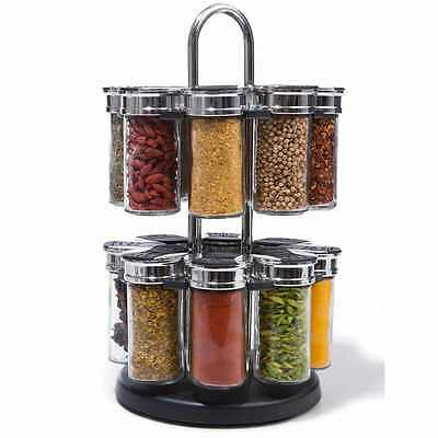 17 Piece Spice Jar Set 2 Tier Silver Black Kitchen Decor Storage