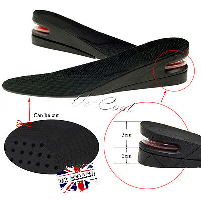 UK Unisex Increase Height Shoe Insole Air Cushion Pad Heel Lift Insert Taller